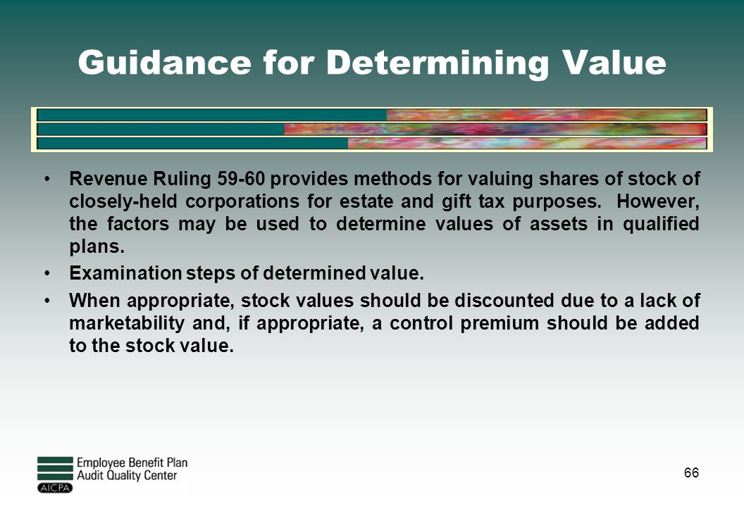 Guidance for Determining Value