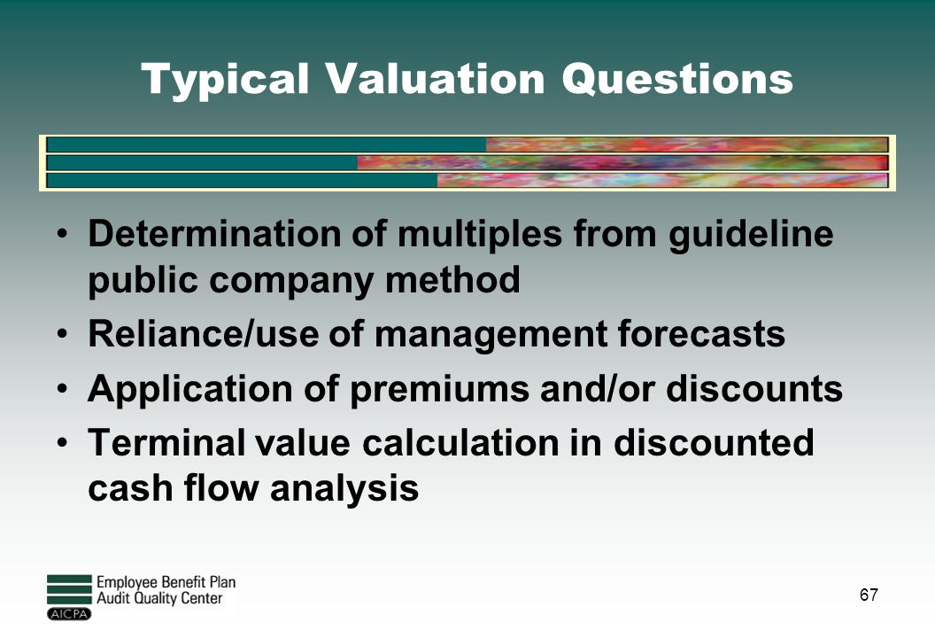Typical Valuation Questions