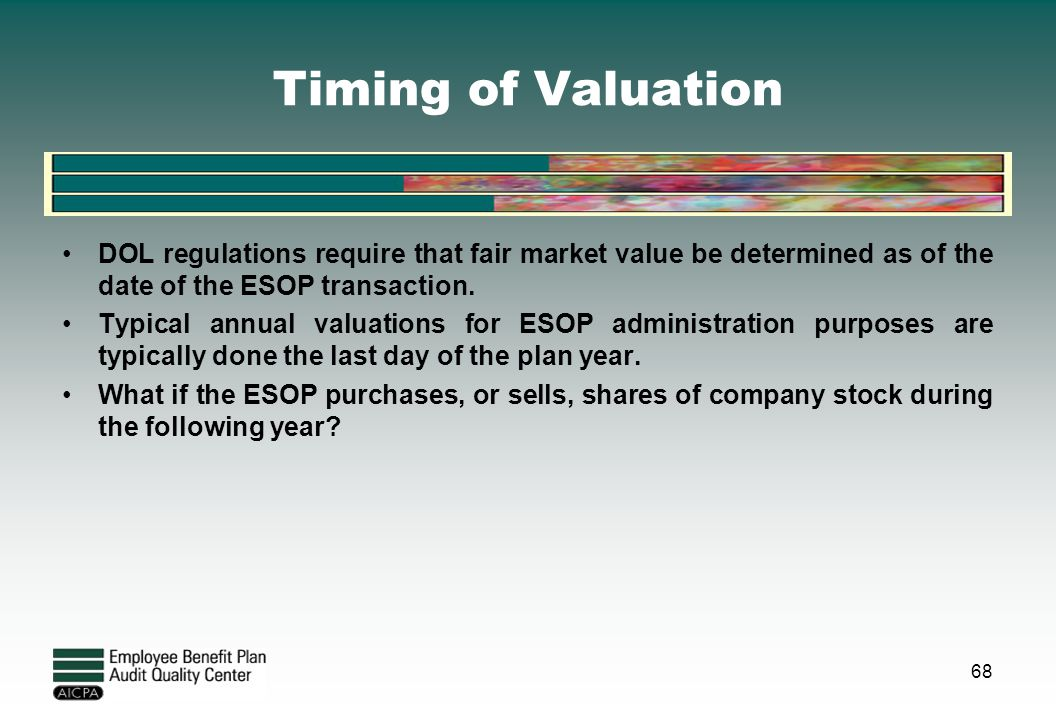 Timing of Valuation DOL regulations require that fair market value be determined as of the date of the ESOP transaction.