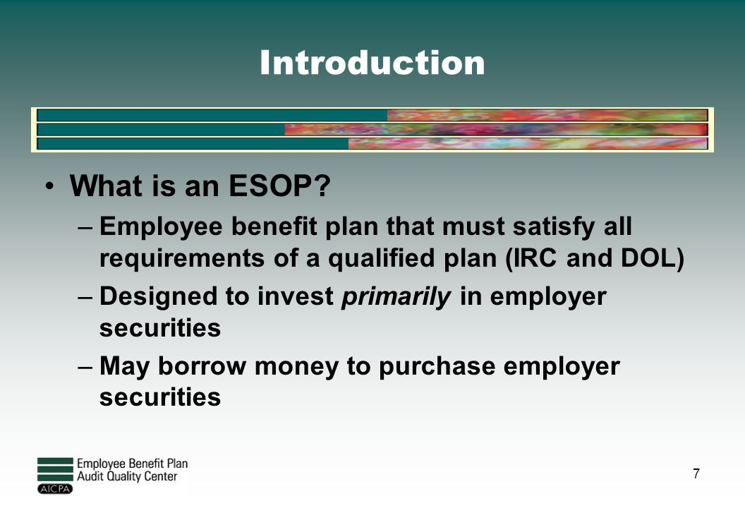 Introduction What is an ESOP