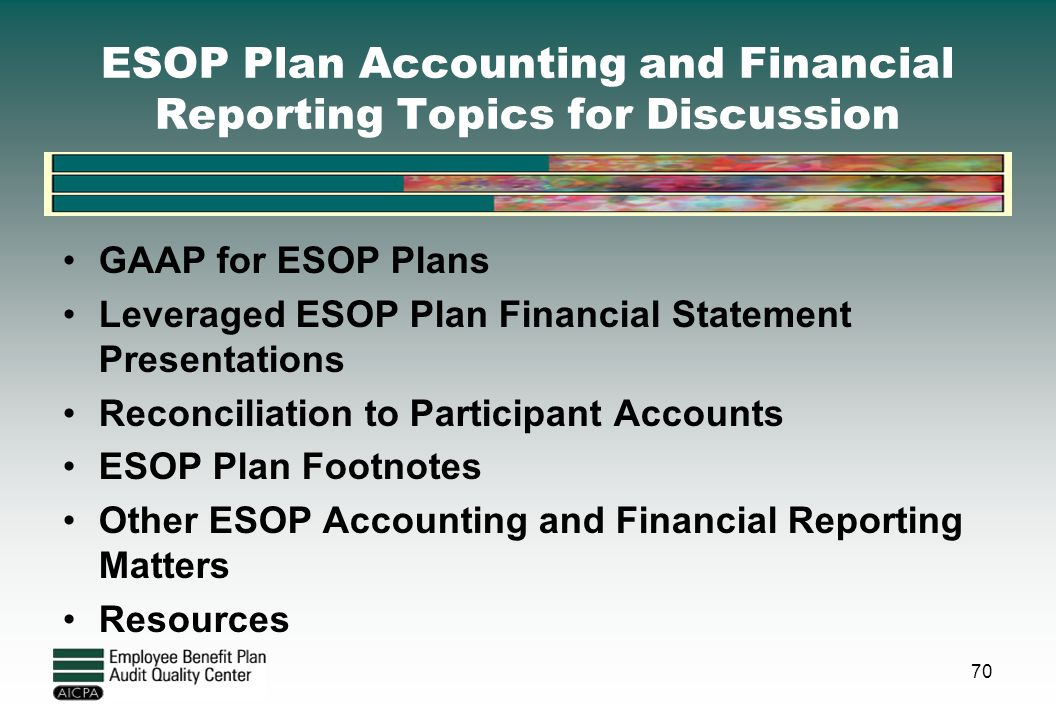 ESOP Plan Accounting and Financial Reporting Topics for Discussion