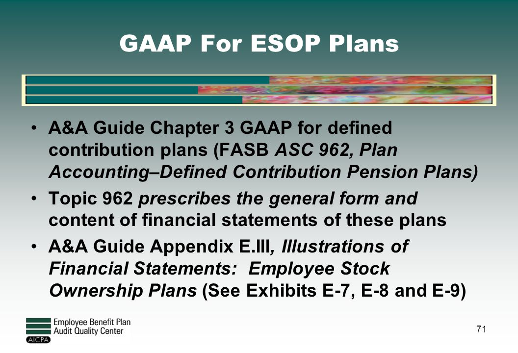 GAAP For ESOP Plans A&A Guide Chapter 3 GAAP for defined contribution plans (FASB ASC 962, Plan Accounting–Defined Contribution Pension Plans)