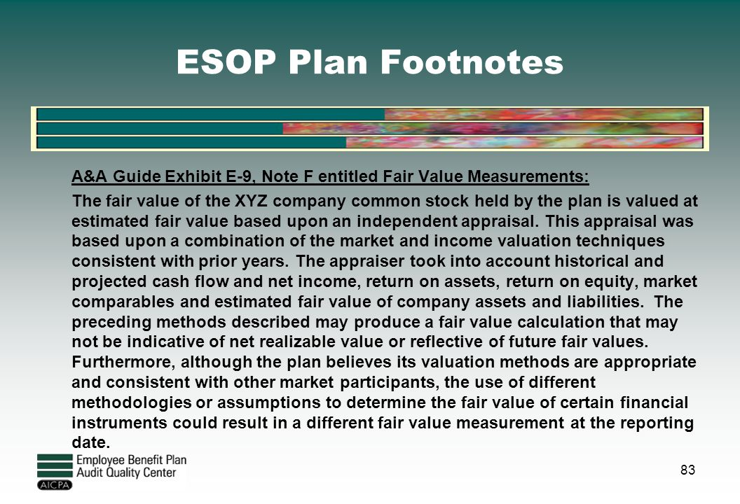 ESOP Plan Footnotes
