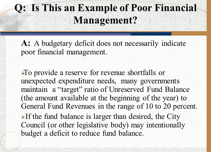 Q: Is This an Example of Poor Financial Management