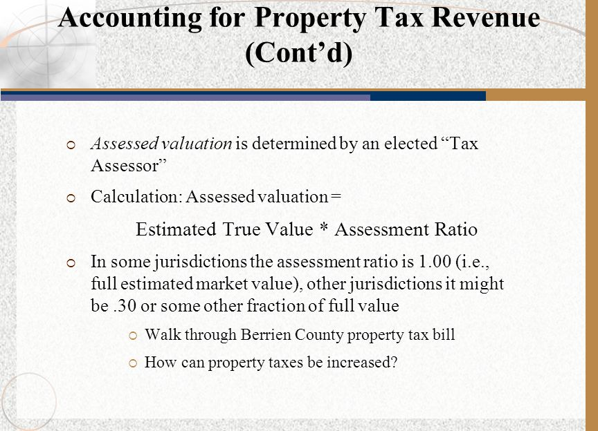 Accounting for Property Tax Revenue (Cont'd)