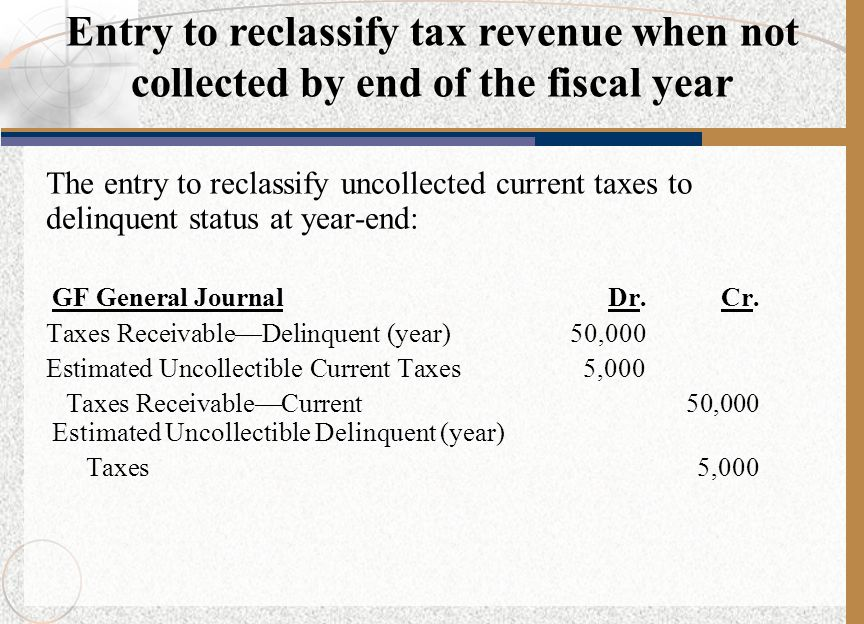 Entry to reclassify tax revenue when not collected by end of the fiscal year
