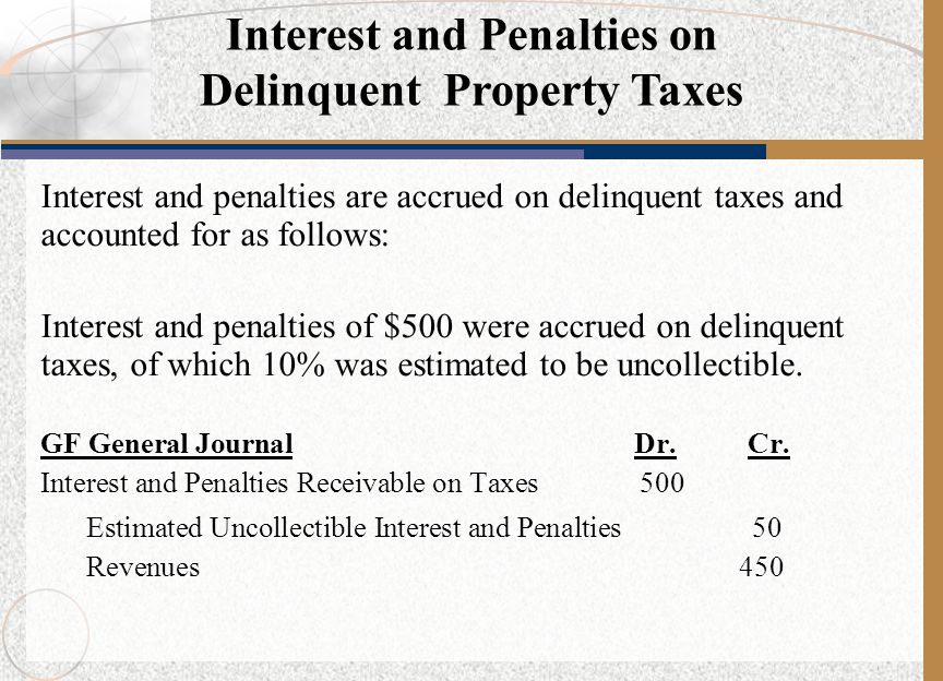 Interest and Penalties on Delinquent Property Taxes