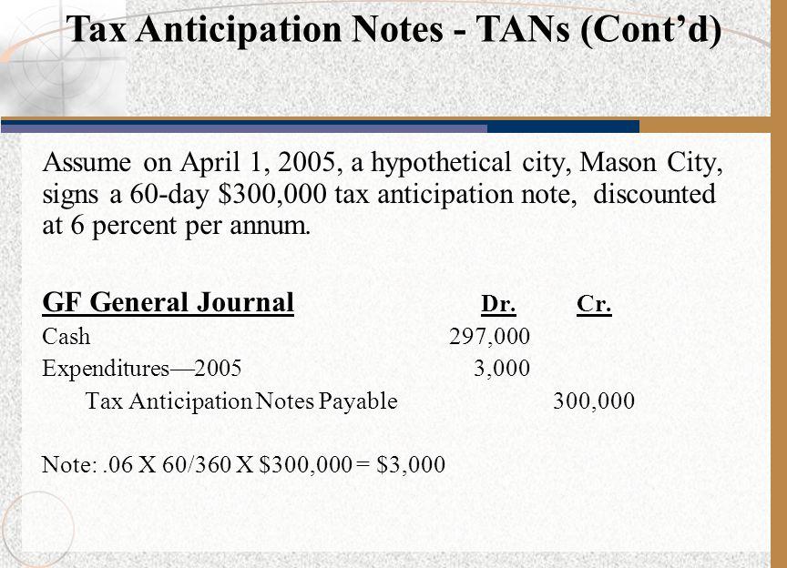 Tax Anticipation Notes - TANs (Cont'd)