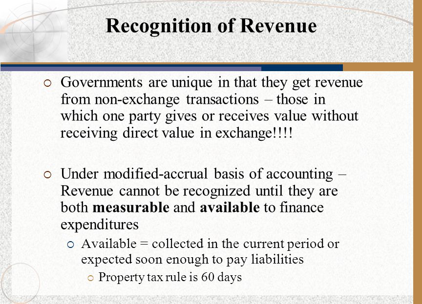 Recognition of Revenue