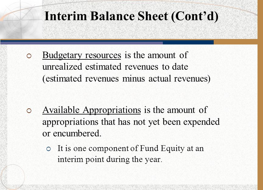 Interim Balance Sheet (Cont'd)