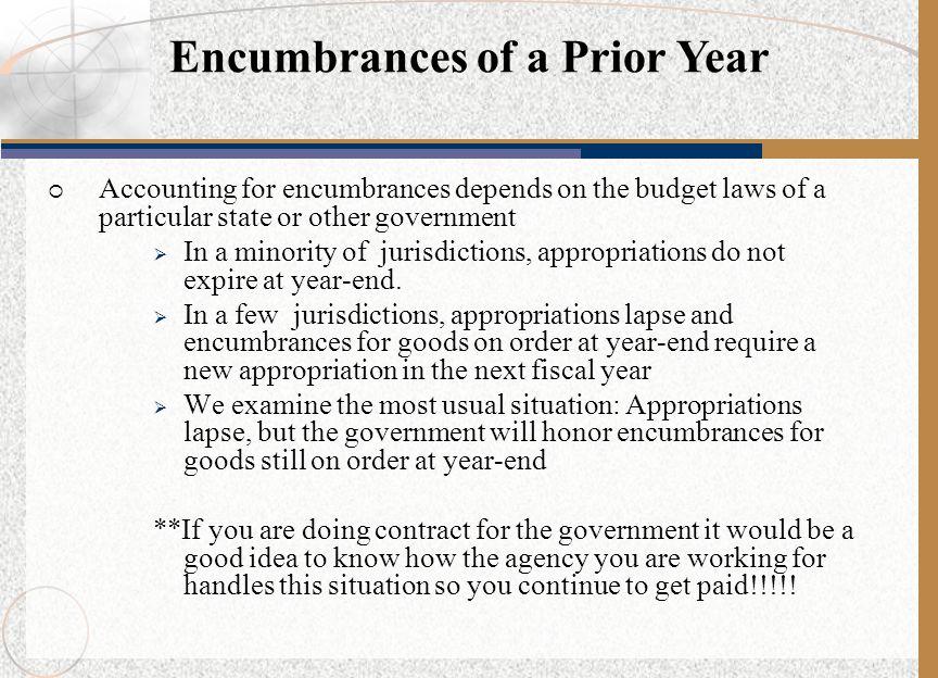 Encumbrances of a Prior Year