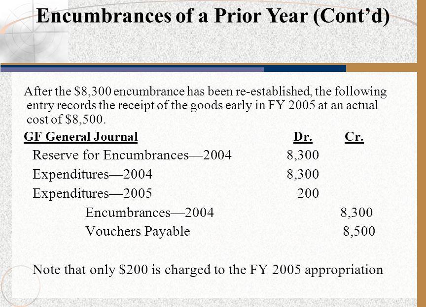 Encumbrances of a Prior Year (Cont'd)