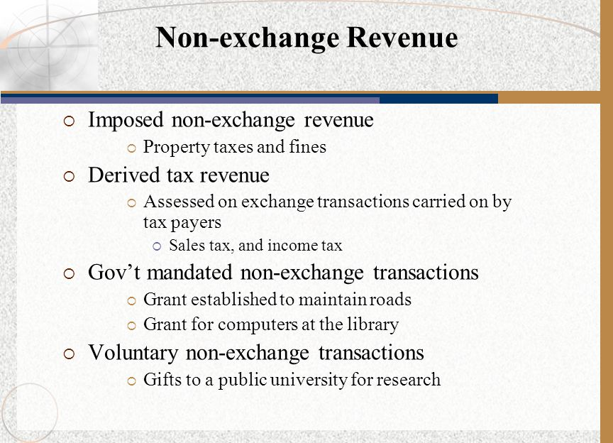Non-exchange Revenue Imposed non-exchange revenue Derived tax revenue