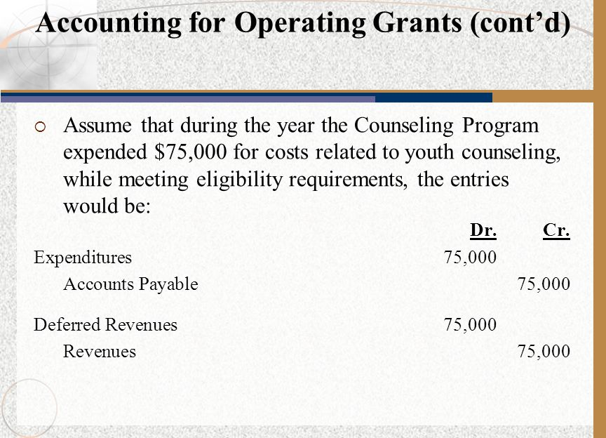 Accounting for Operating Grants (cont'd)