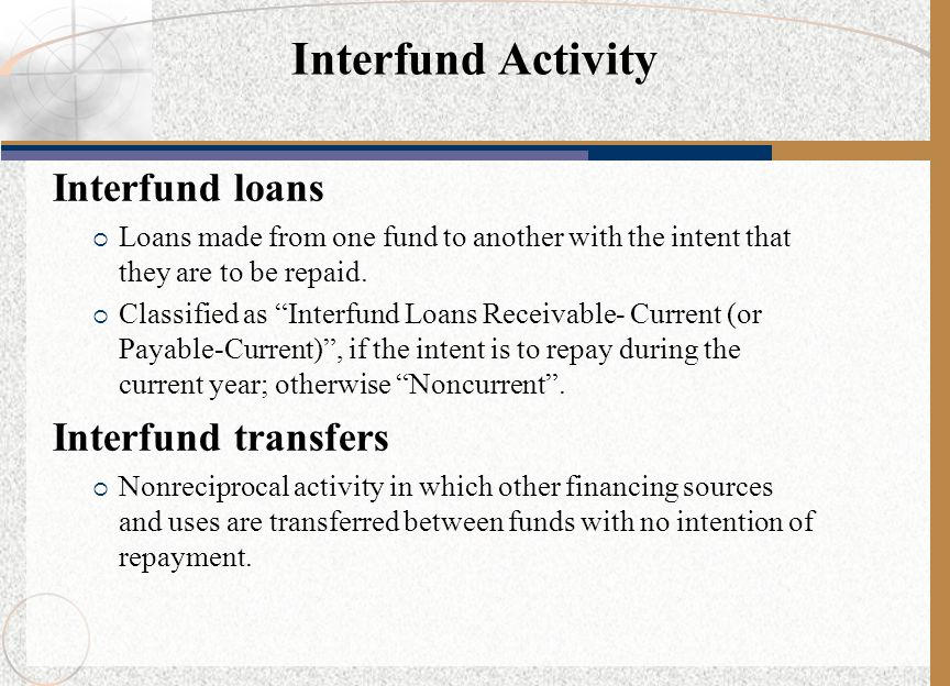 Interfund Activity Interfund loans Interfund transfers