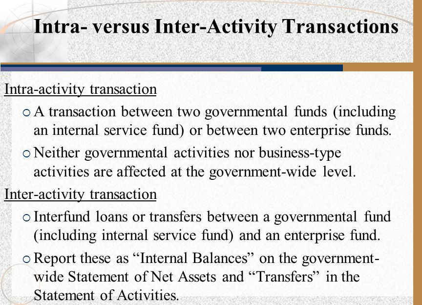 Intra- versus Inter-Activity Transactions