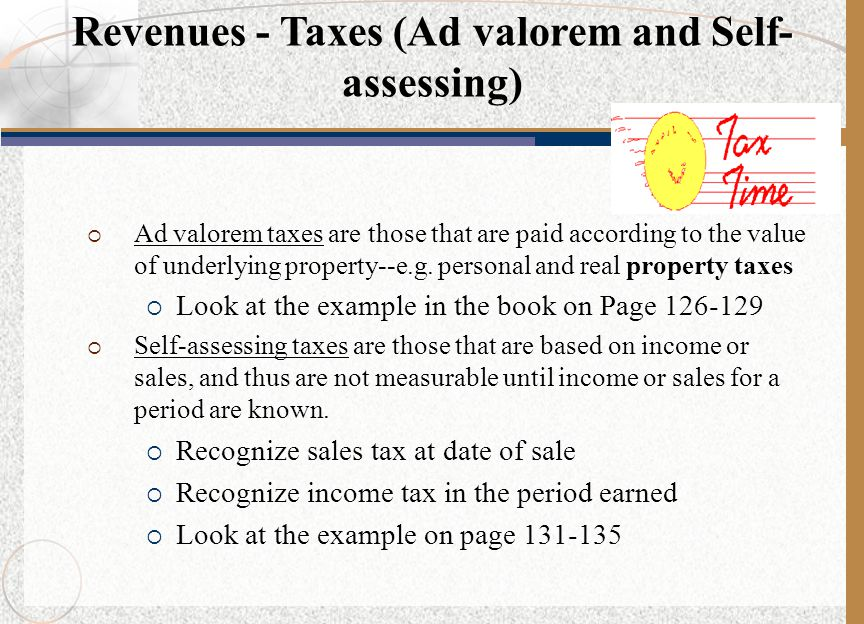 Revenues - Taxes (Ad valorem and Self-assessing)