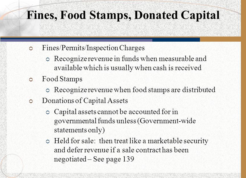 Fines, Food Stamps, Donated Capital