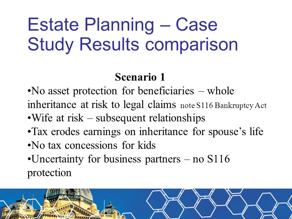 Estate Planning – Case Study Results comparison
