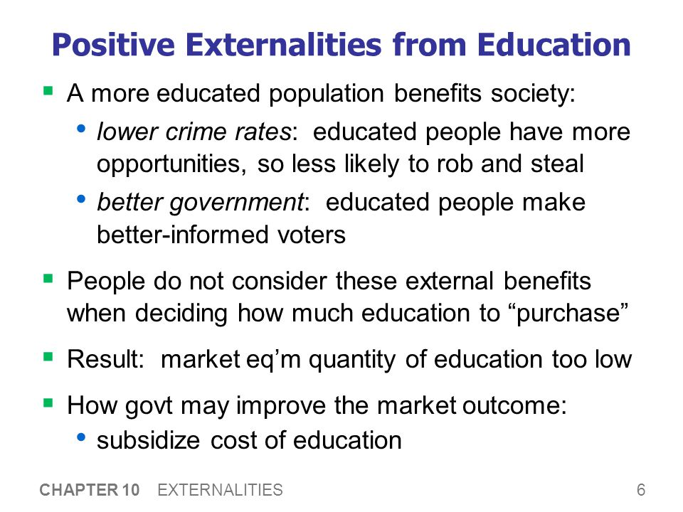 Other Examples of Positive Externalities