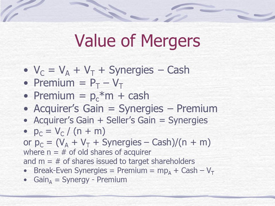 Value of Mergers VC = VA + VT + Synergies – Cash Premium = PT – VT