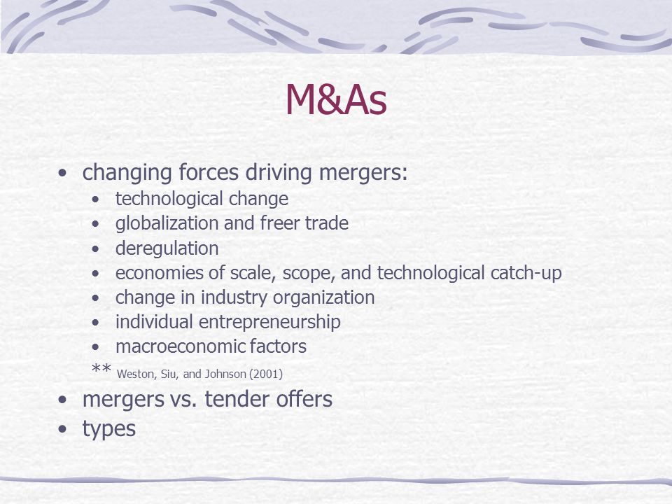 M&As changing forces driving mergers: mergers vs. tender offers types