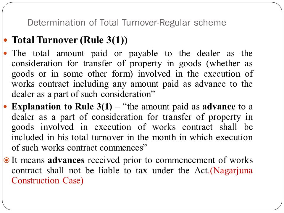 Determination of Total Turnover-Regular scheme