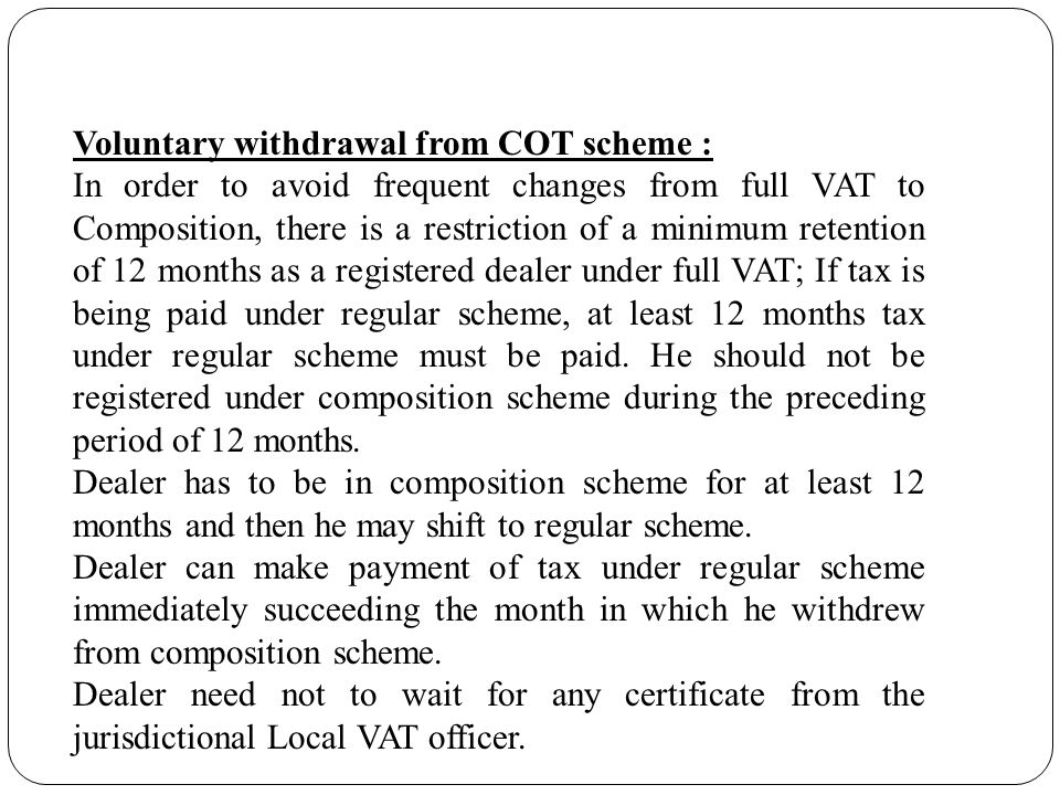 Voluntary withdrawal from COT scheme :