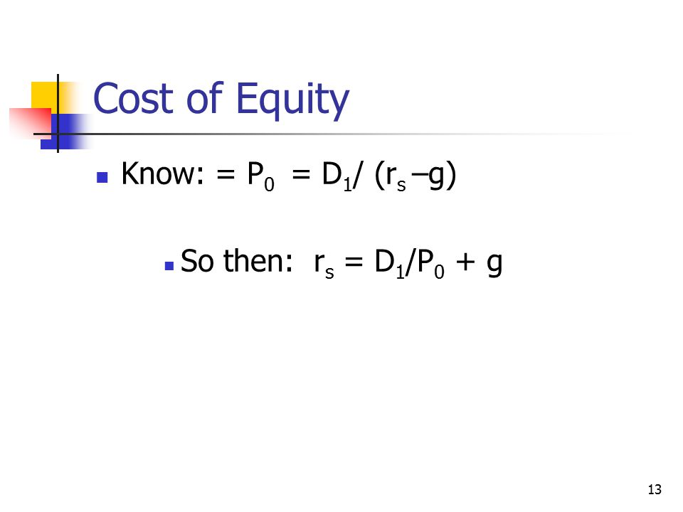 Cost of Equity Know: = P0 = D1/ (rs –g) So then: rs = D1/P0 + g