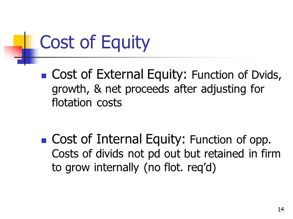 Cost of Equity Cost of External Equity: Function of Dvids, growth, & net proceeds after adjusting for flotation costs.