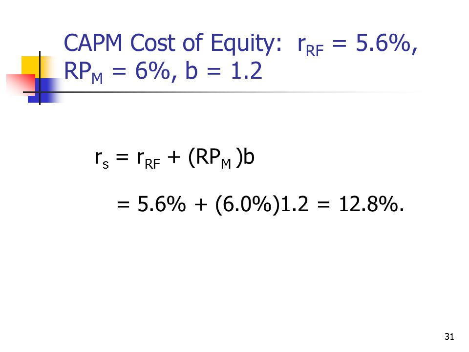 CAPM Cost of Equity: rRF = 5.6%, RPM = 6%, b = 1.2