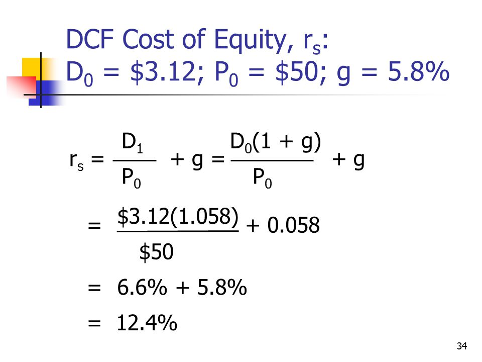 DCF Cost of Equity, rs: D0 = $3.12; P0 = $50; g = 5.8%