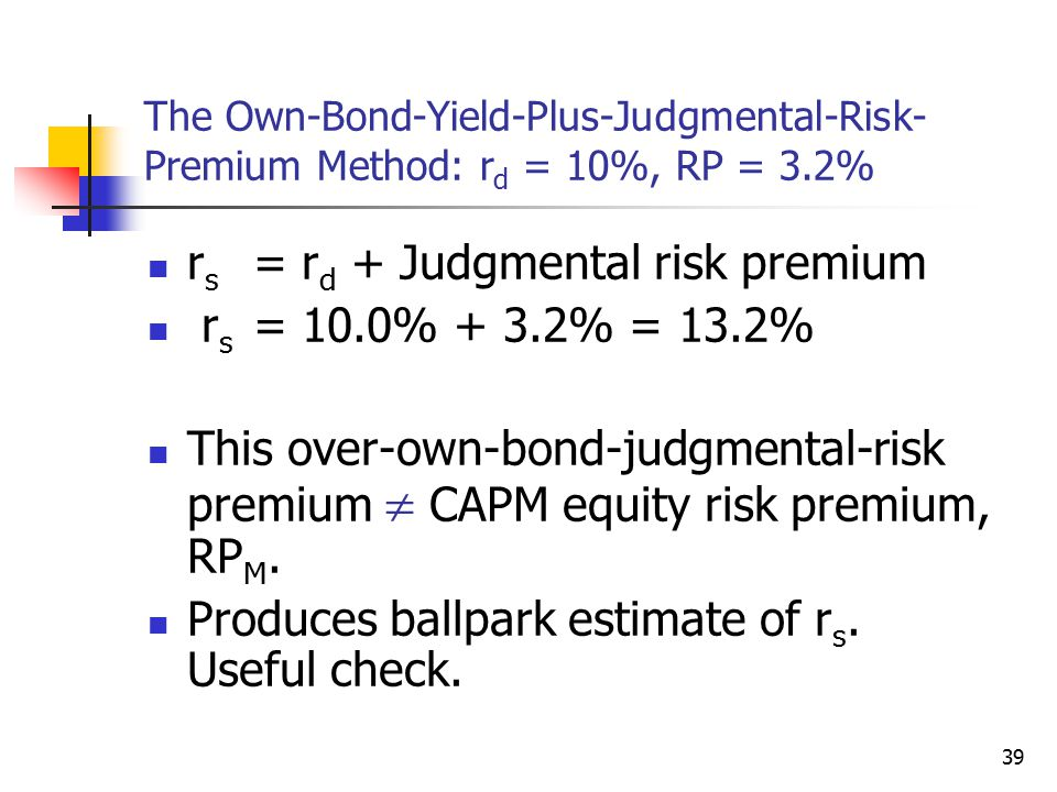 rs = rd + Judgmental risk premium rs = 10.0% + 3.2% = 13.2%