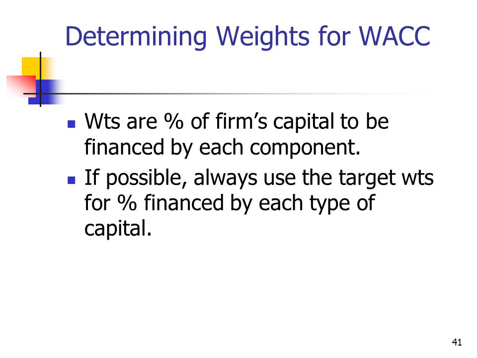 Determining Weights for WACC