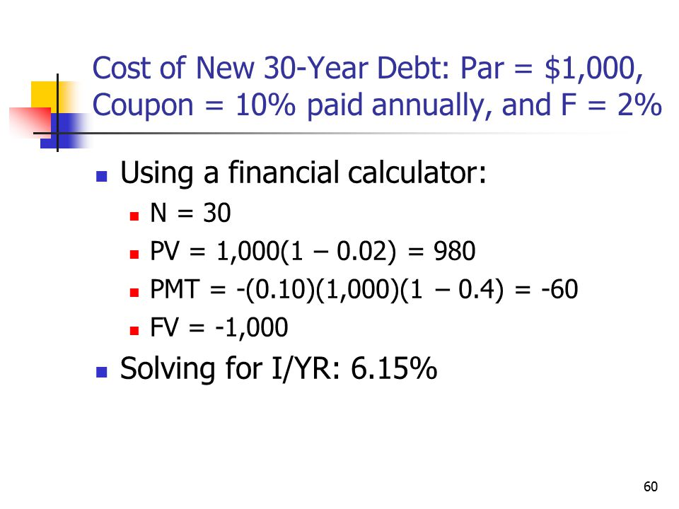 Using a financial calculator: