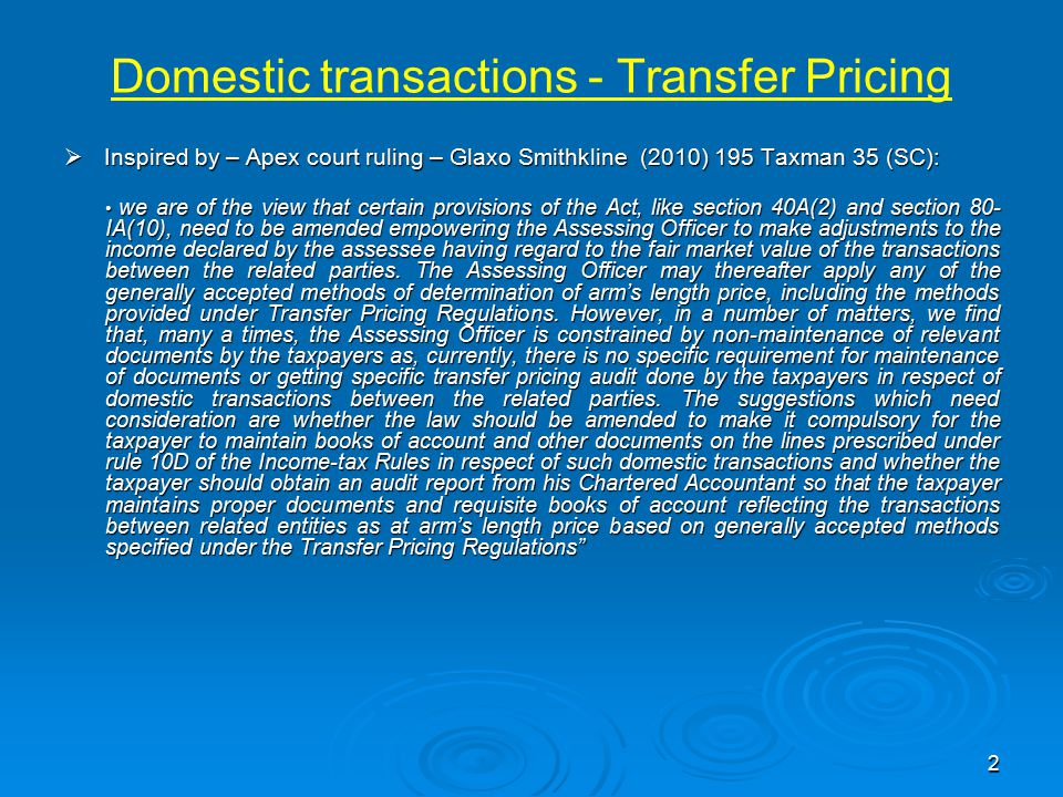 Domestic transactions - Transfer Pricing