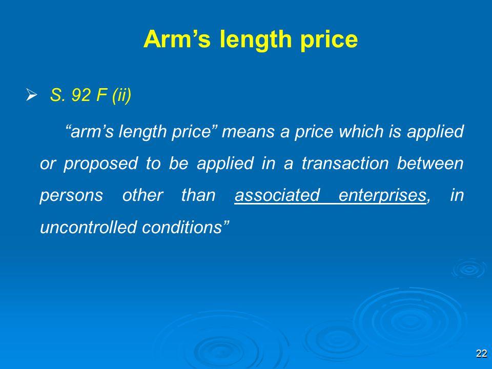 Arm's length price S. 92 F (ii)