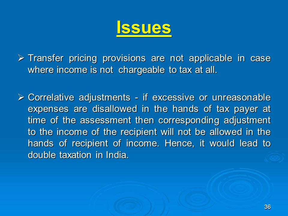 Issues Transfer pricing provisions are not applicable in case where income is not chargeable to tax at all.