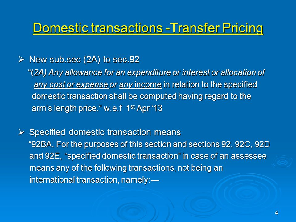 Domestic transactions -Transfer Pricing
