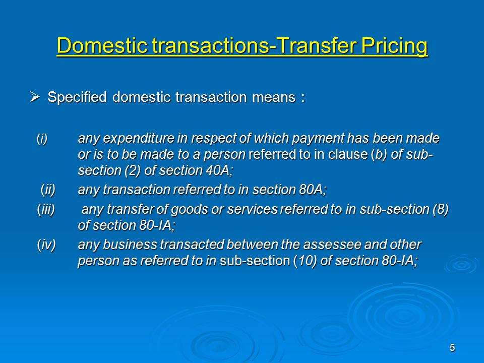 Domestic transactions-Transfer Pricing