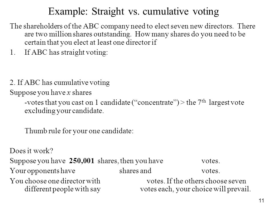 Example: Straight vs. cumulative voting