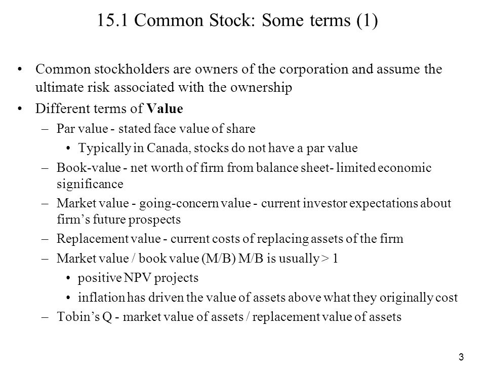 15.1 Common Stock: Some terms (1)