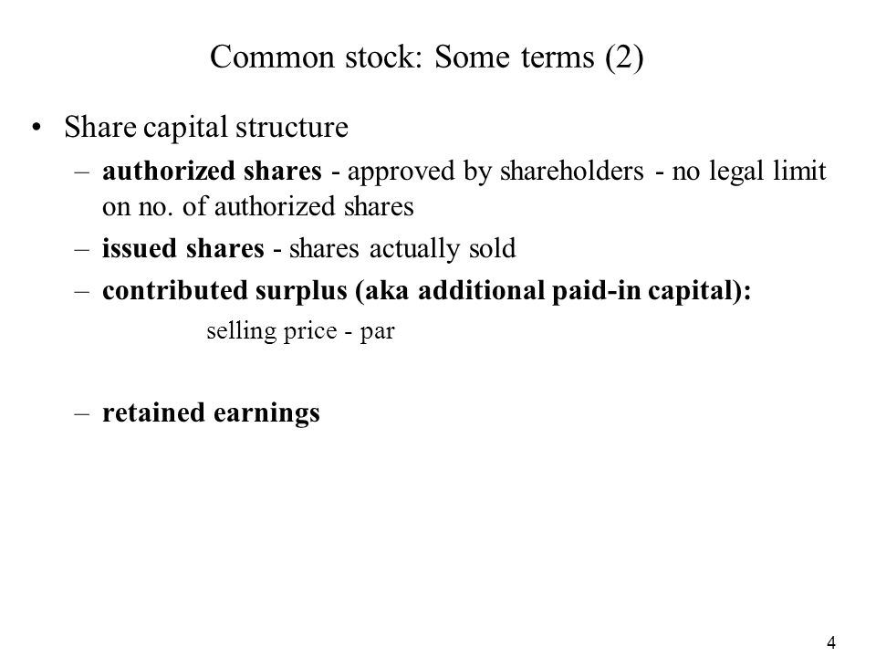 Common stock: Some terms (2)