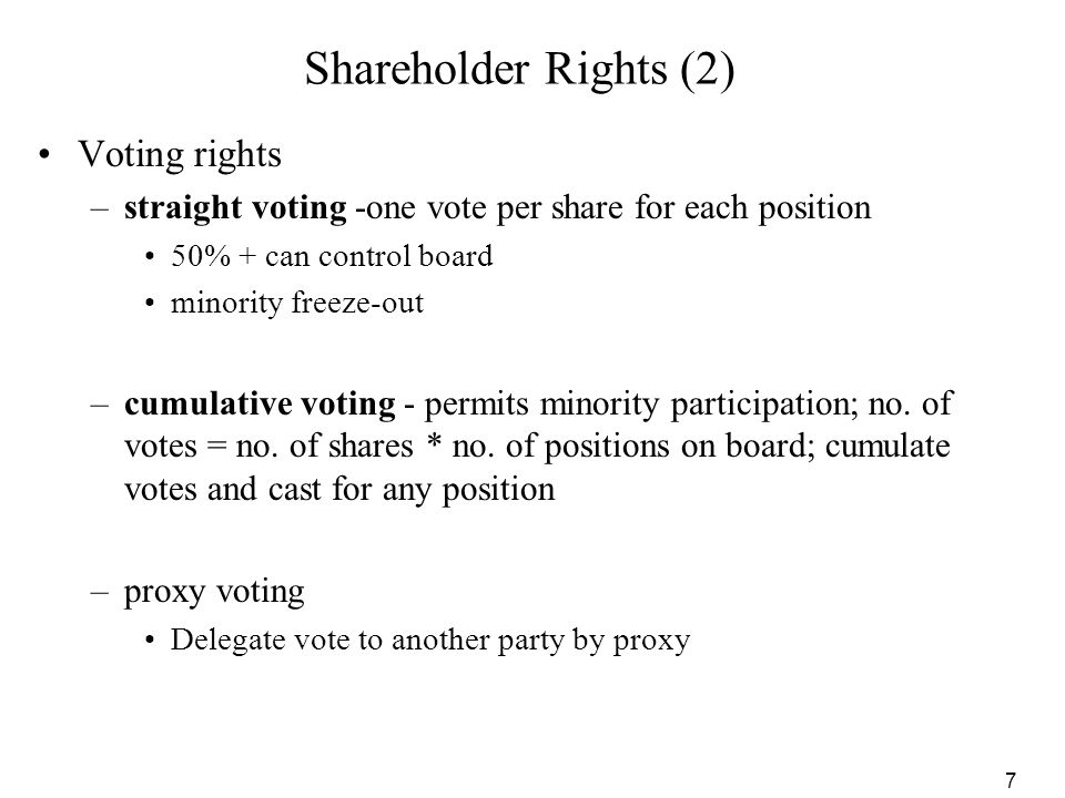 Shareholder Rights (2) Voting rights