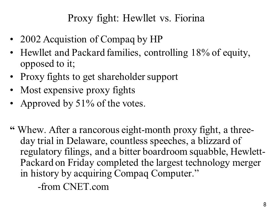 Proxy fight: Hewllet vs. Fiorina