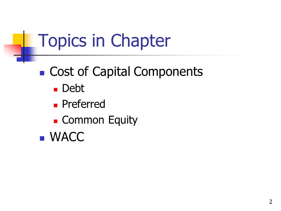 Topics in Chapter Cost of Capital Components WACC Debt Preferred