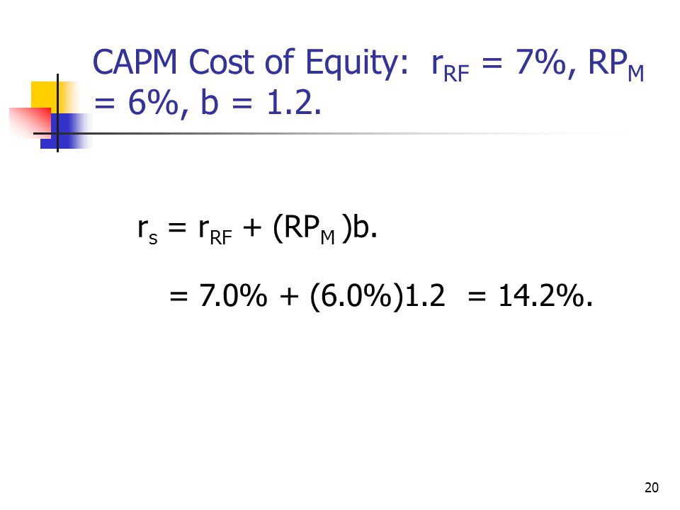 CAPM Cost of Equity: rRF = 7%, RPM = 6%, b = 1.2.