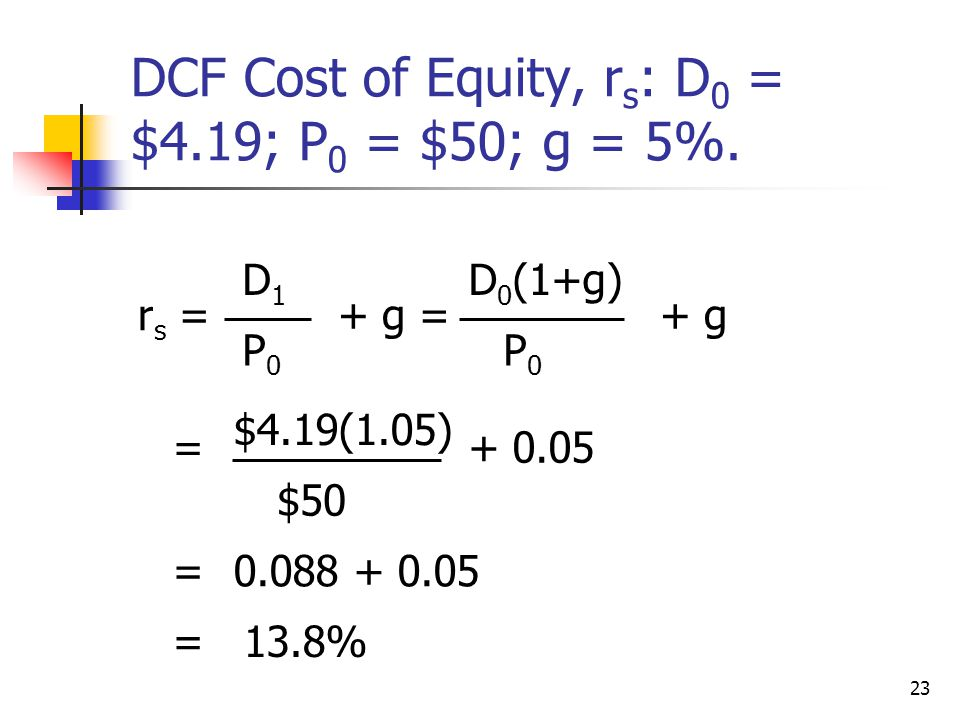 DCF Cost of Equity, rs: D0 = $4.19; P0 = $50; g = 5%.