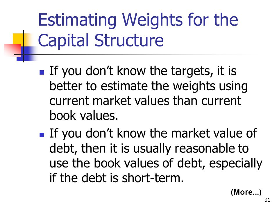 Estimating Weights for the Capital Structure