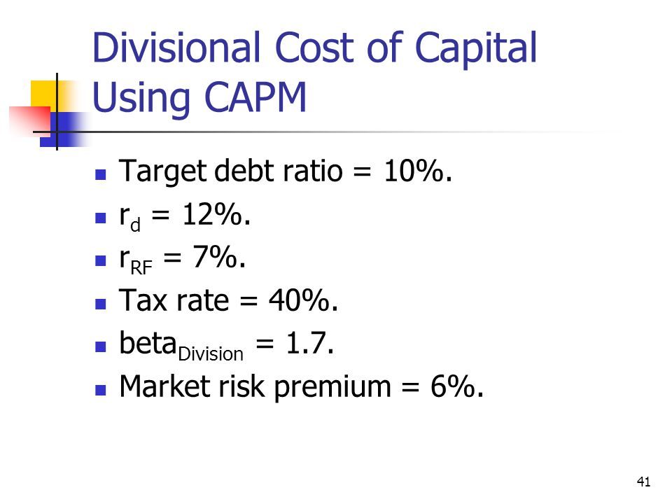 Divisional Cost of Capital Using CAPM